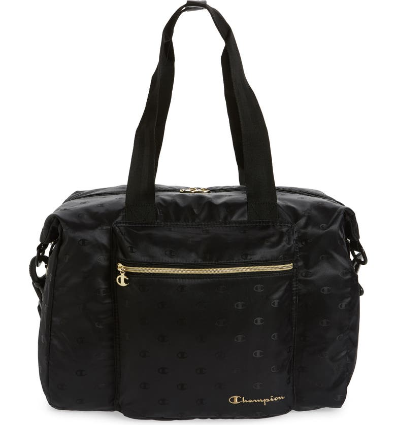 CHAMPION Cadeat Logo Duffle Bag, Main, color, BLACK/ GOLD