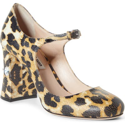 Miu Miu Rocchetto Mary Jane Pump, Brown