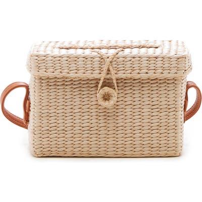 Sole Society Ellyn Straw Box Crossbody Bag - Beige