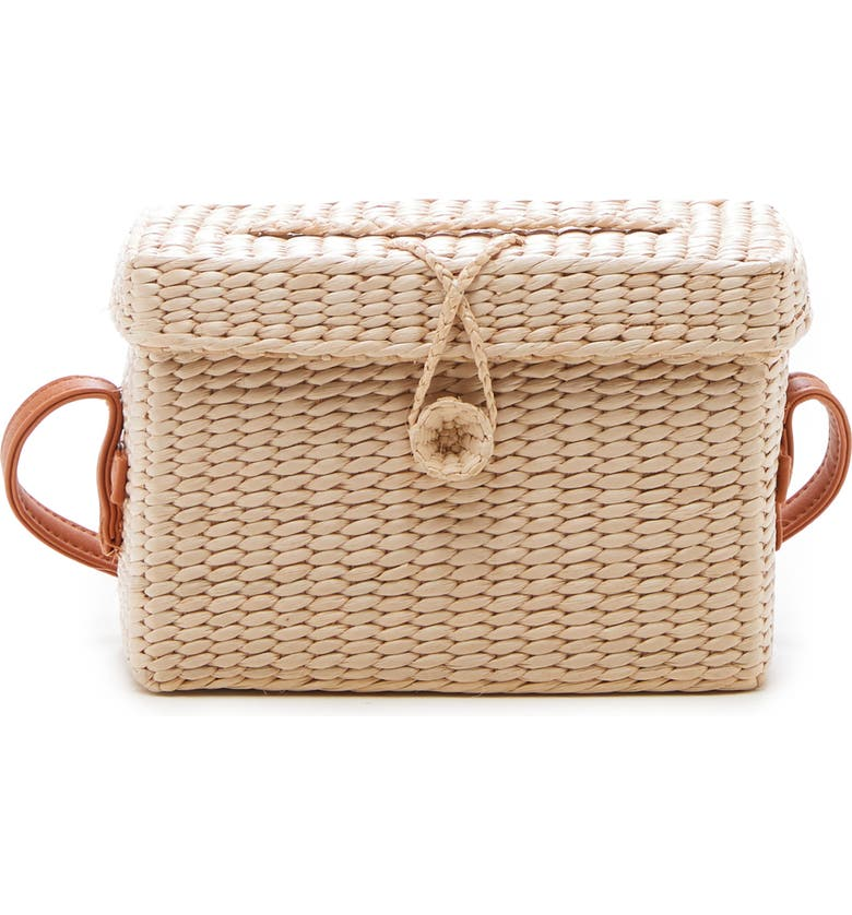 SOLE SOCIETY Ellyn Straw Box Crossbody Bag, Main, color, NATURAL
