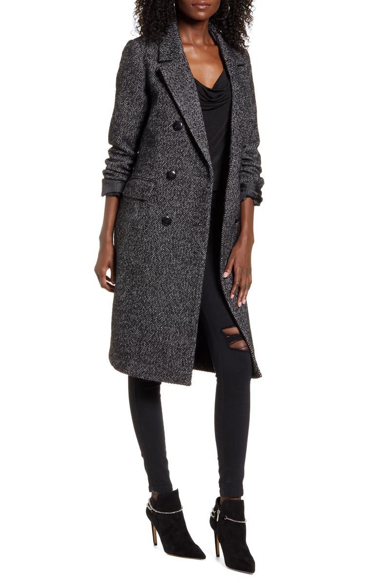 VERO MODA Highland Herringbone Coat, Main, color, BLACK