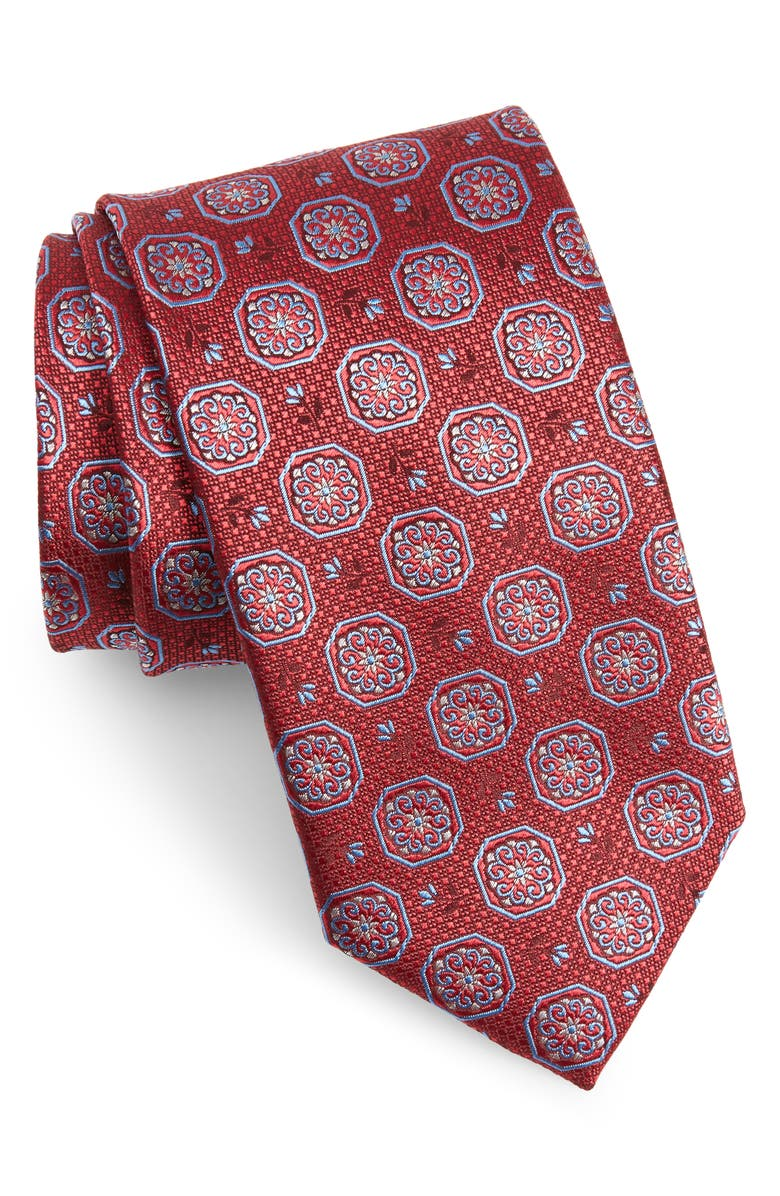 CANALI Medallion Silk Tie, Main, color, 600