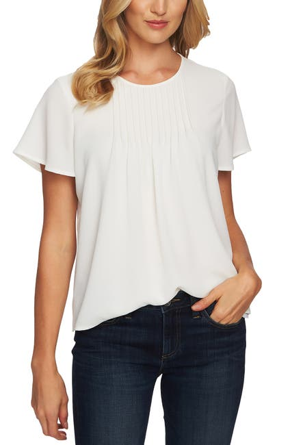 Image of CeCe by Cynthia Steffe Short Sleeve Pintuck Blouse