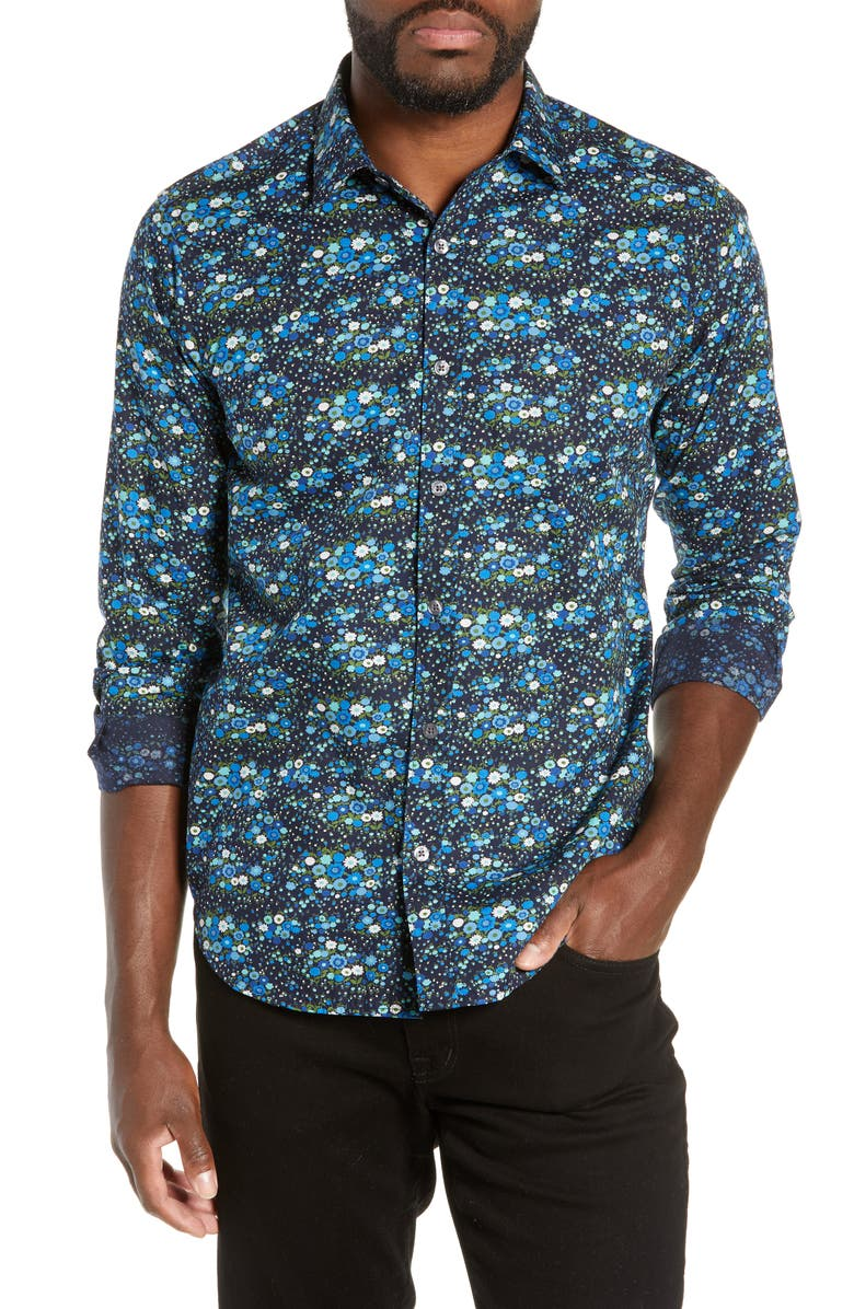 JEFF Everett Slim Fit Floral Print Shirt, Main, color, NAVY