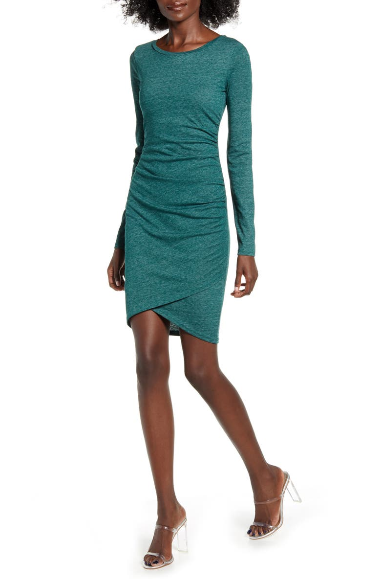 LEITH Ruched Long Sleeve Dress, Main, color, GREEN BOTANICAL HEATHER