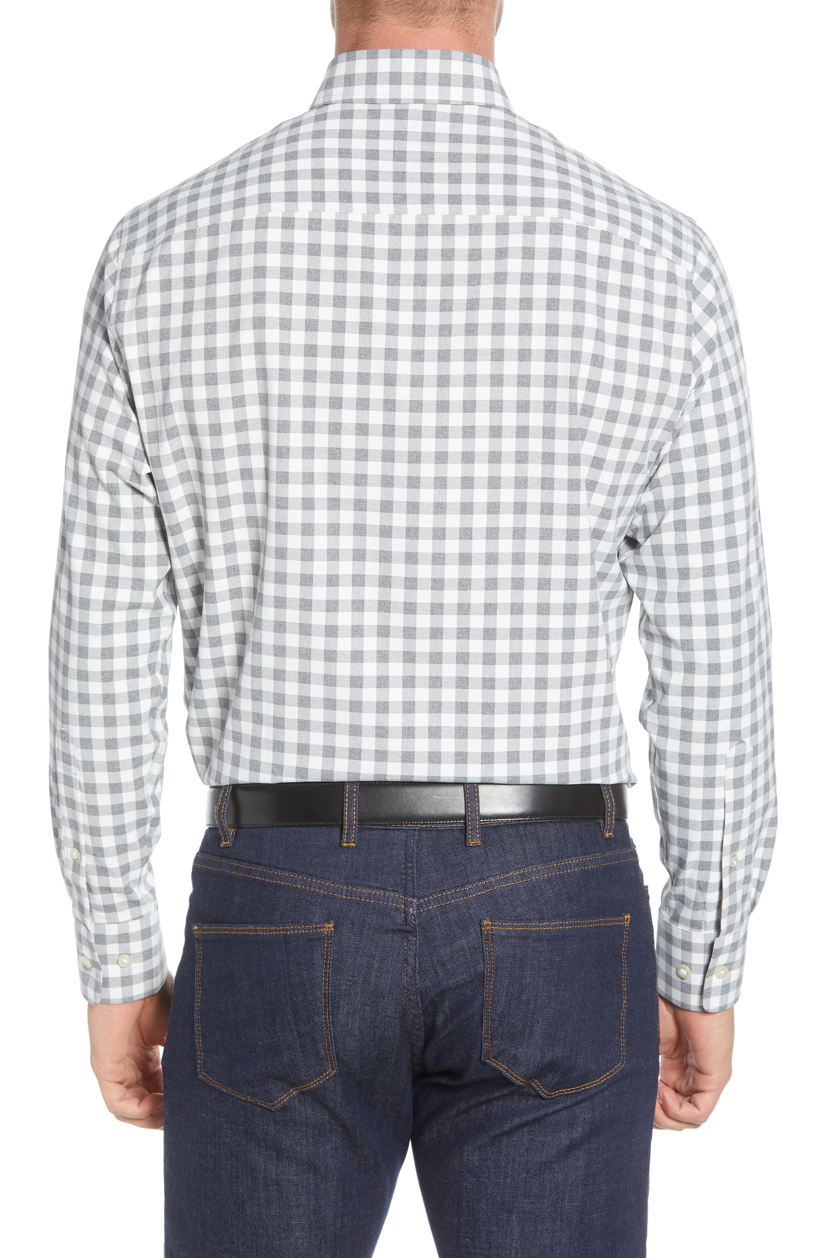 Peter Millar T-shirts Jordan Natural Touch Regular Fit Gingham Button-Down Performance Shirt