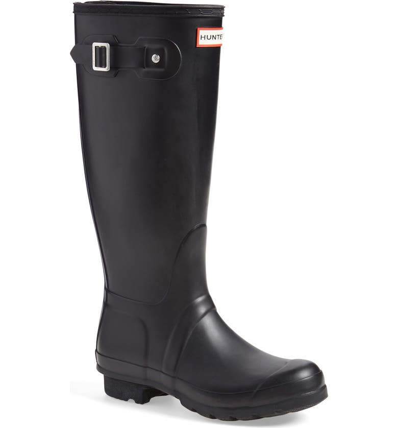 HUNTER 'Tall' Back Zip Rain Boot, Main, color, 001