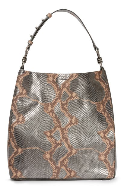 Allsaints Totes CAPTAIN SNAKESKIN EMBOSSED LEATHER TOTE - GREY (NORDSTROM EXCLUSIVE)
