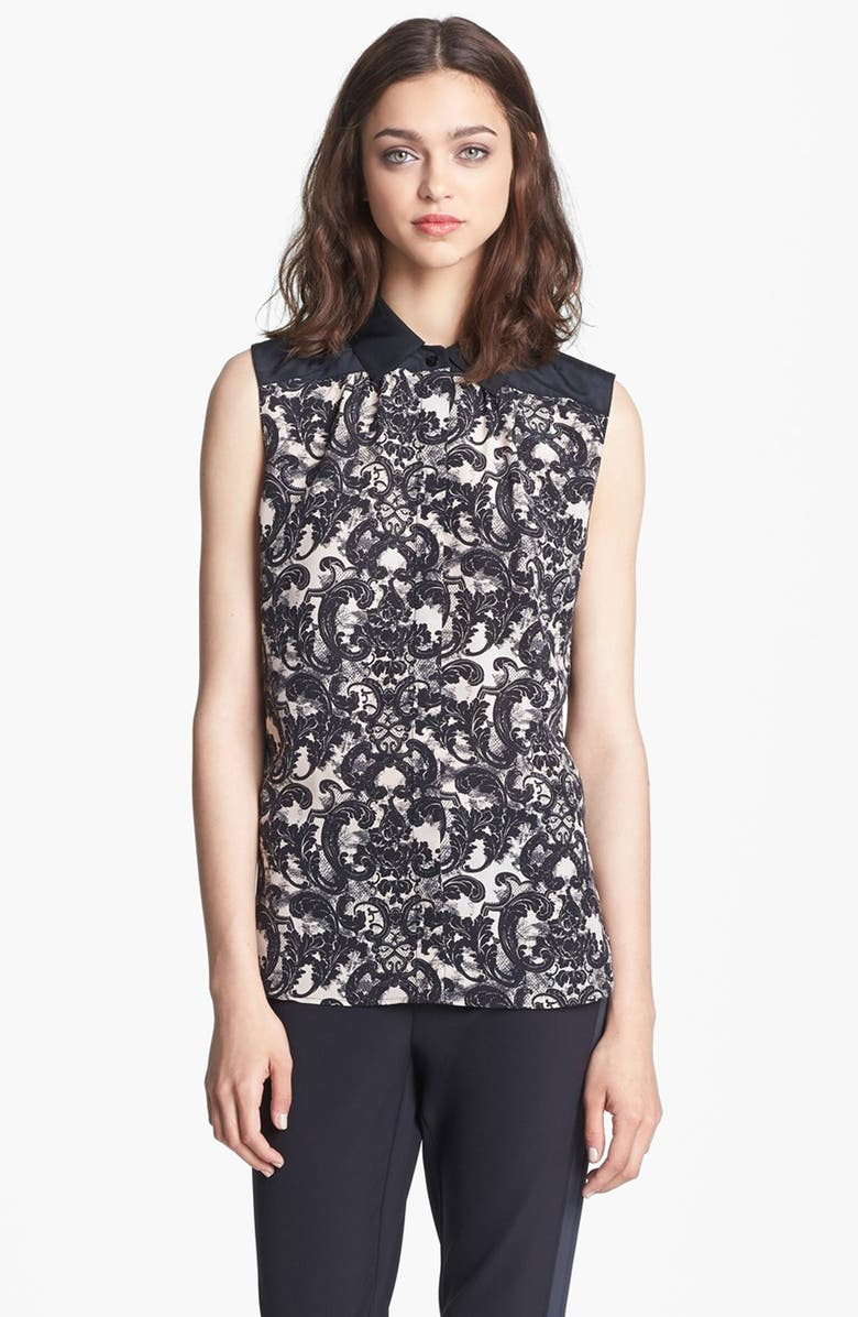 MISS WU 'Vera' Lace Print Silk Blouse, Main, color, 001