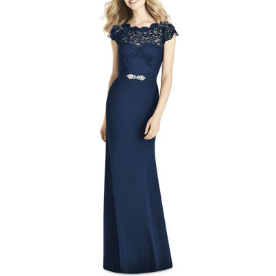 Jenny Packham Lace & Crepe Sheath Gown, Blue