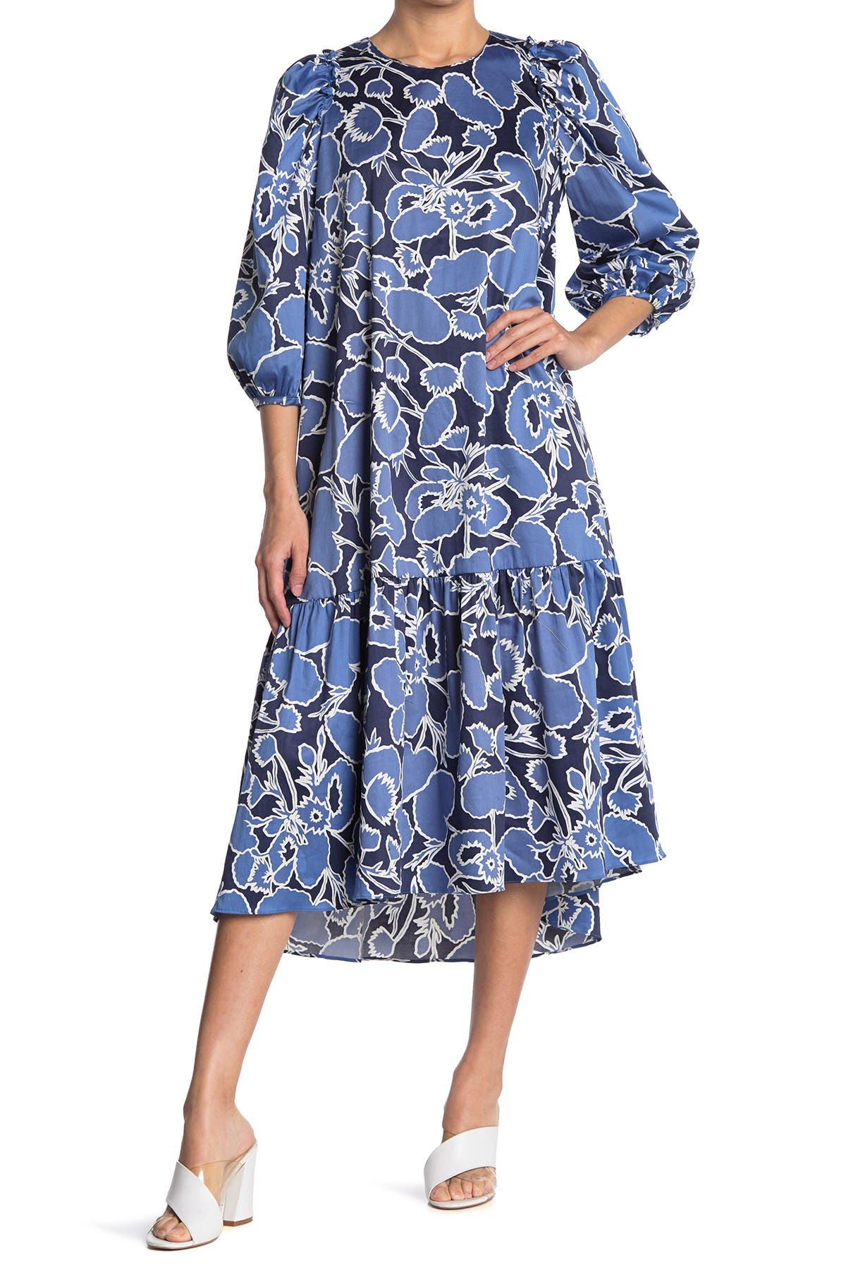 Image of MELLODAY Floral Ruffle Hem Midi Dress