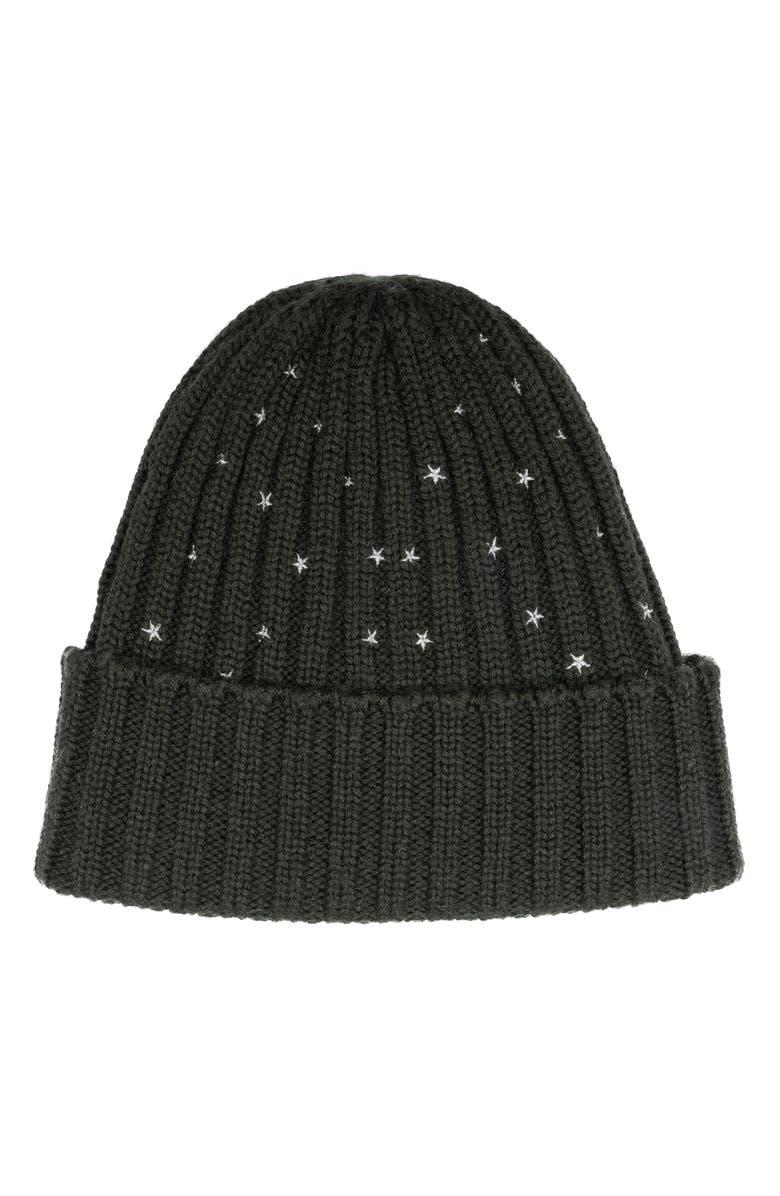 CAROLYN ROWAN ACCESSORIES Starry Wool Blend Hat, Main, color, LODEN HEATHER GREEN/ SILVER