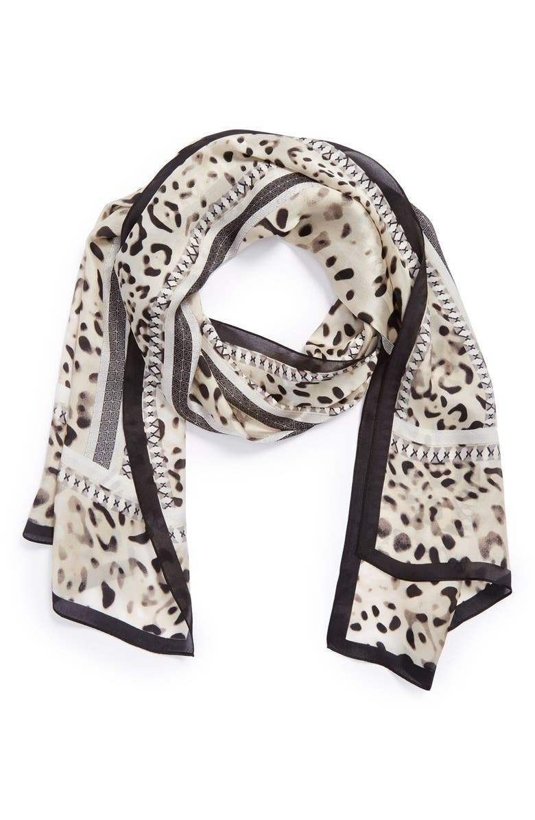 VINCE CAMUTO Leopard Print Silk Scarf, Main, color, Black