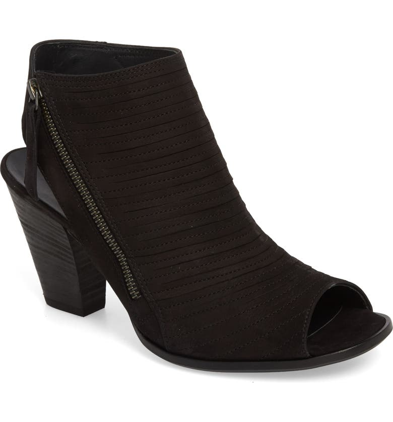 PAUL GREEN 'Cayanne' Leather Peep Toe Sandal, Main, color, BLACK SUEDE