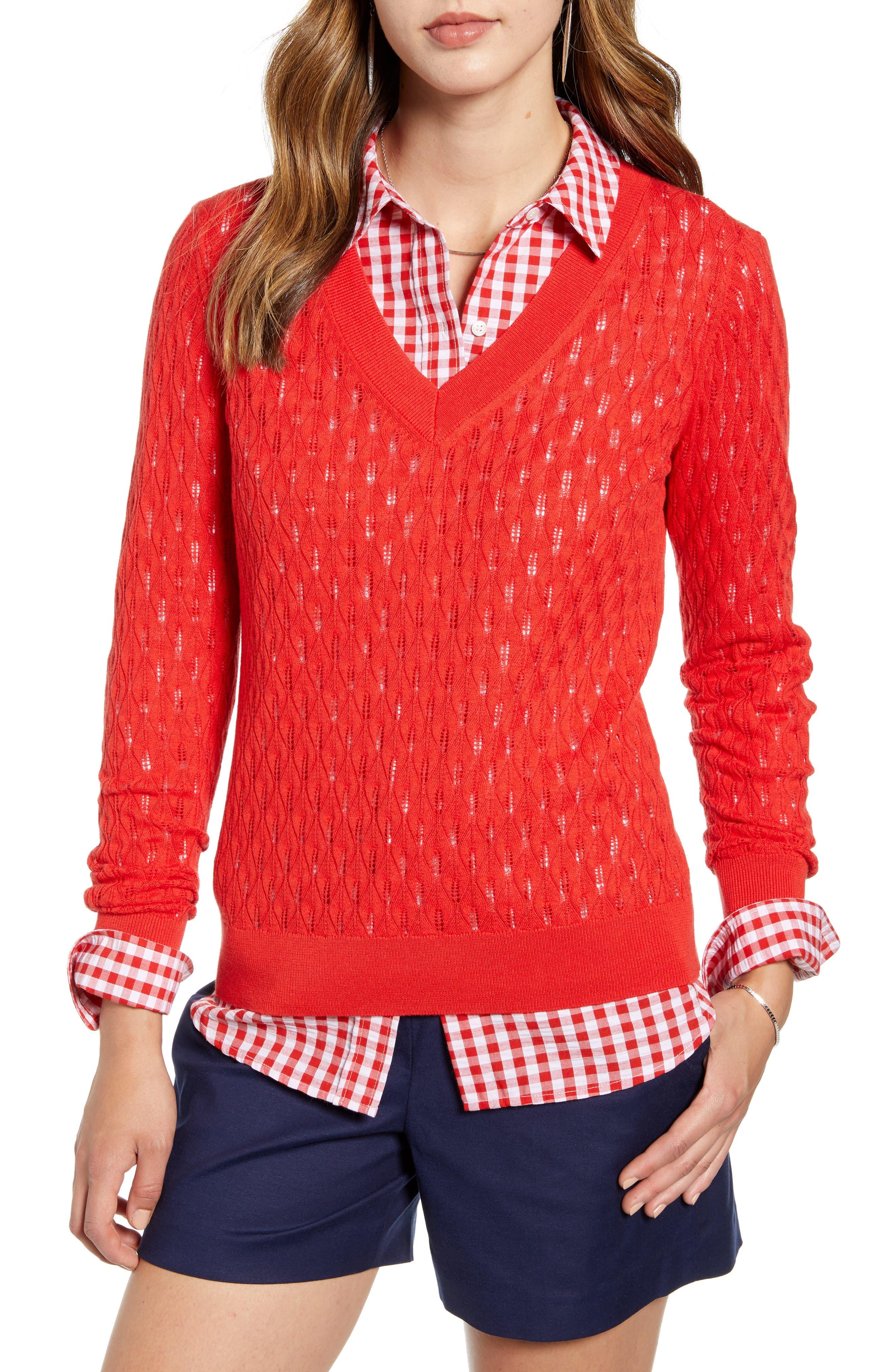 1901 V-Neck Pointelle Sweater, Red