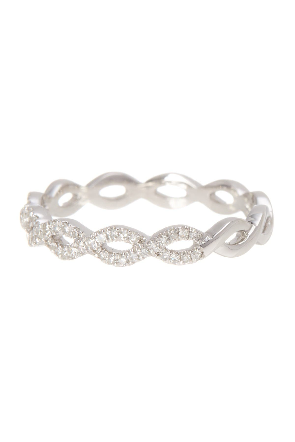Image of Carriere Sterling Silver Diamond Weave Ring - 0.16 ctw
