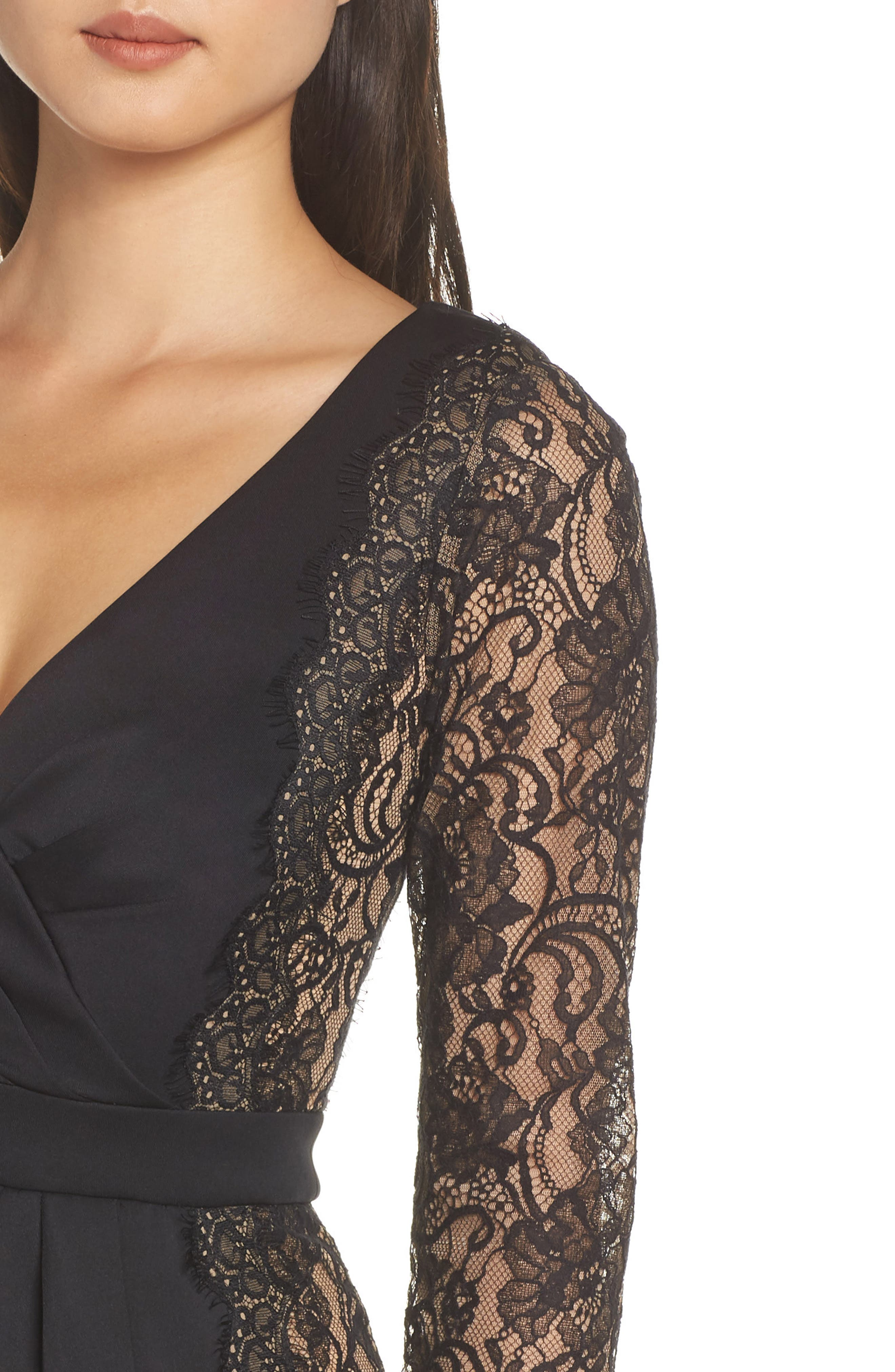 ,                             Long Sleeve Neoprene & Lace Cocktail Dress,                             Alternate thumbnail 5, color,                             001