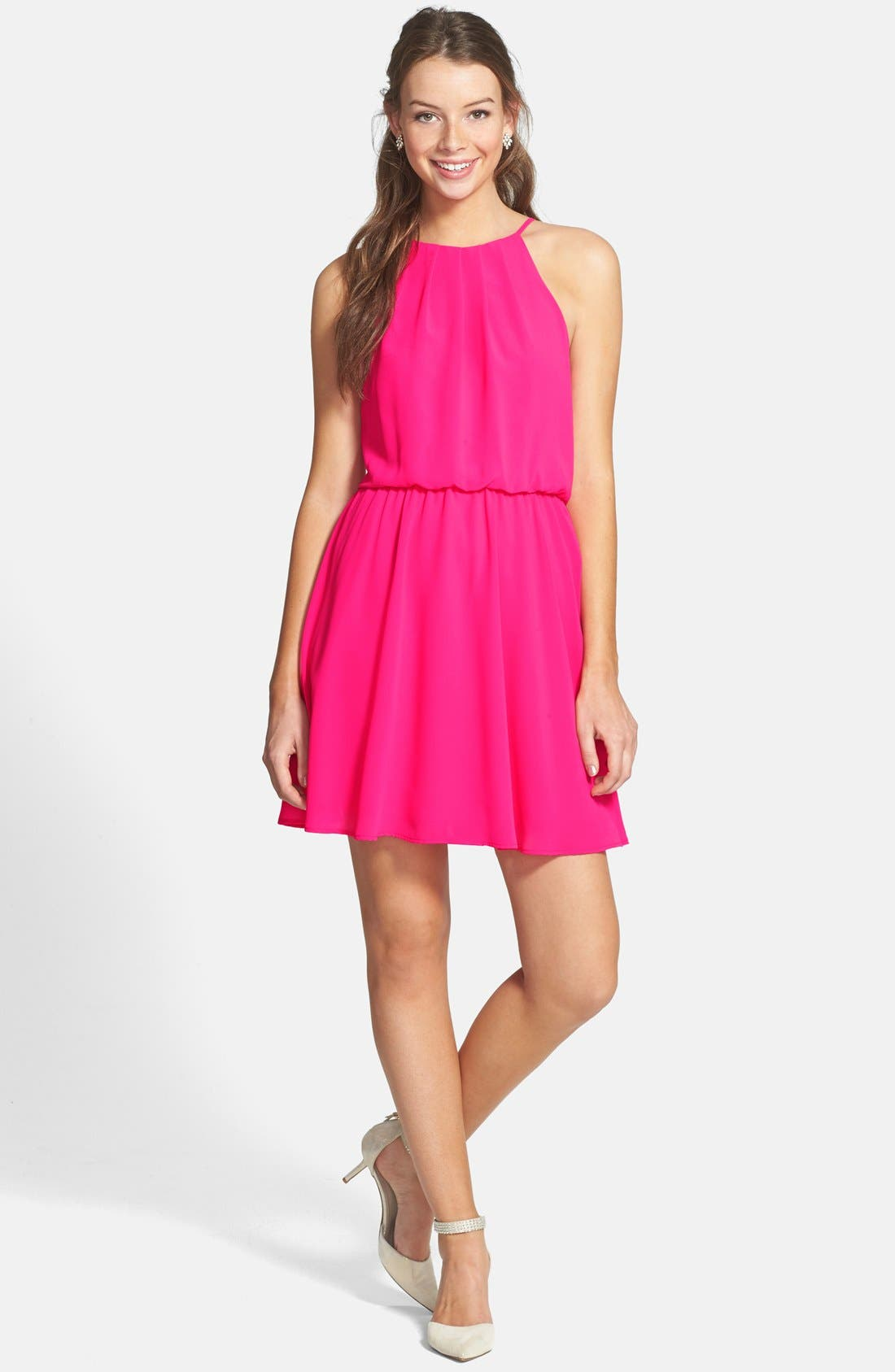 ,                             Blouson Chiffon Skater Dress,                             Main thumbnail 196, color,                             650