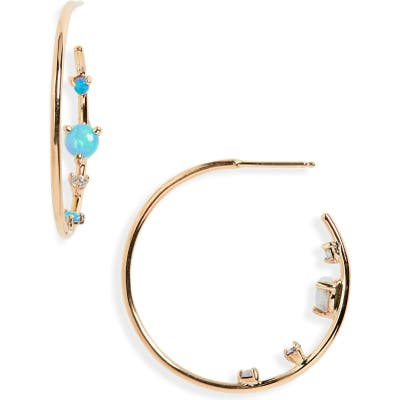 Wwake Opal & Diamond Inverted Hoop Earrings