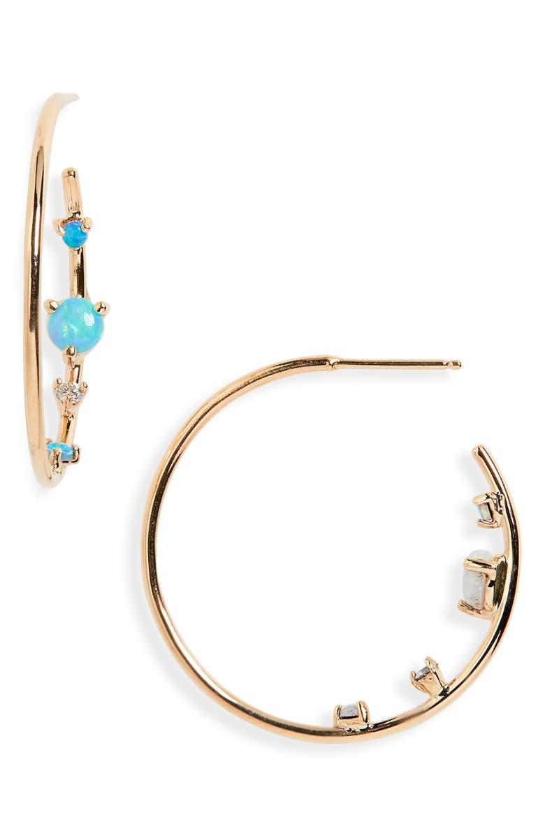 WWAKE Opal & Diamond Inverted Hoop Earrings, Main, color, YELLOW GOLD