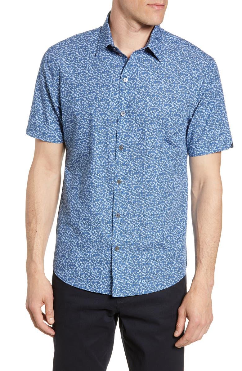 ZACHARY PRELL Padilla Regular Fit Floral Short Sleeve Button-Up Shirt, Main, color, 400