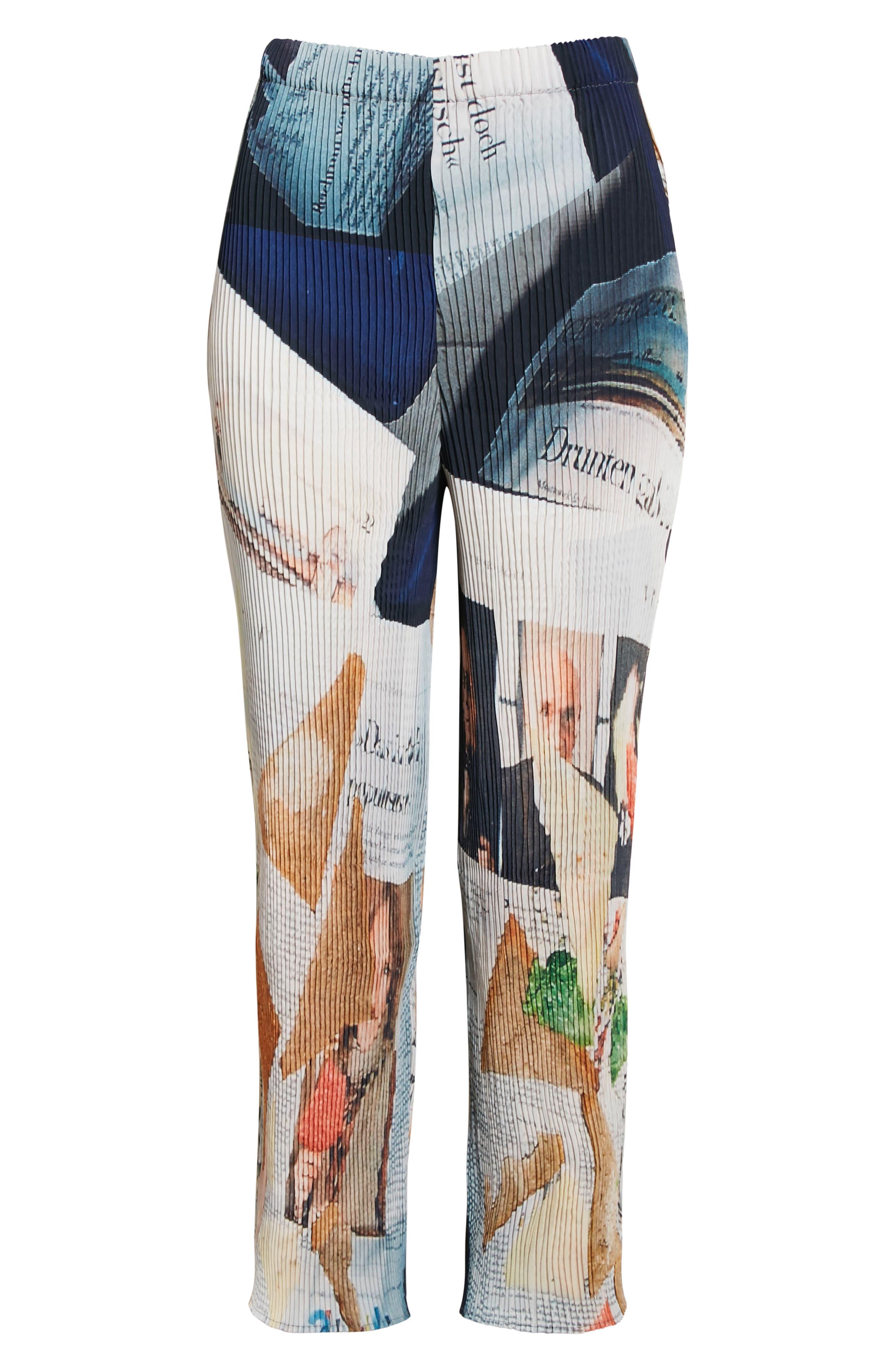 Jack Print Plisse Pleated Crop Trousers