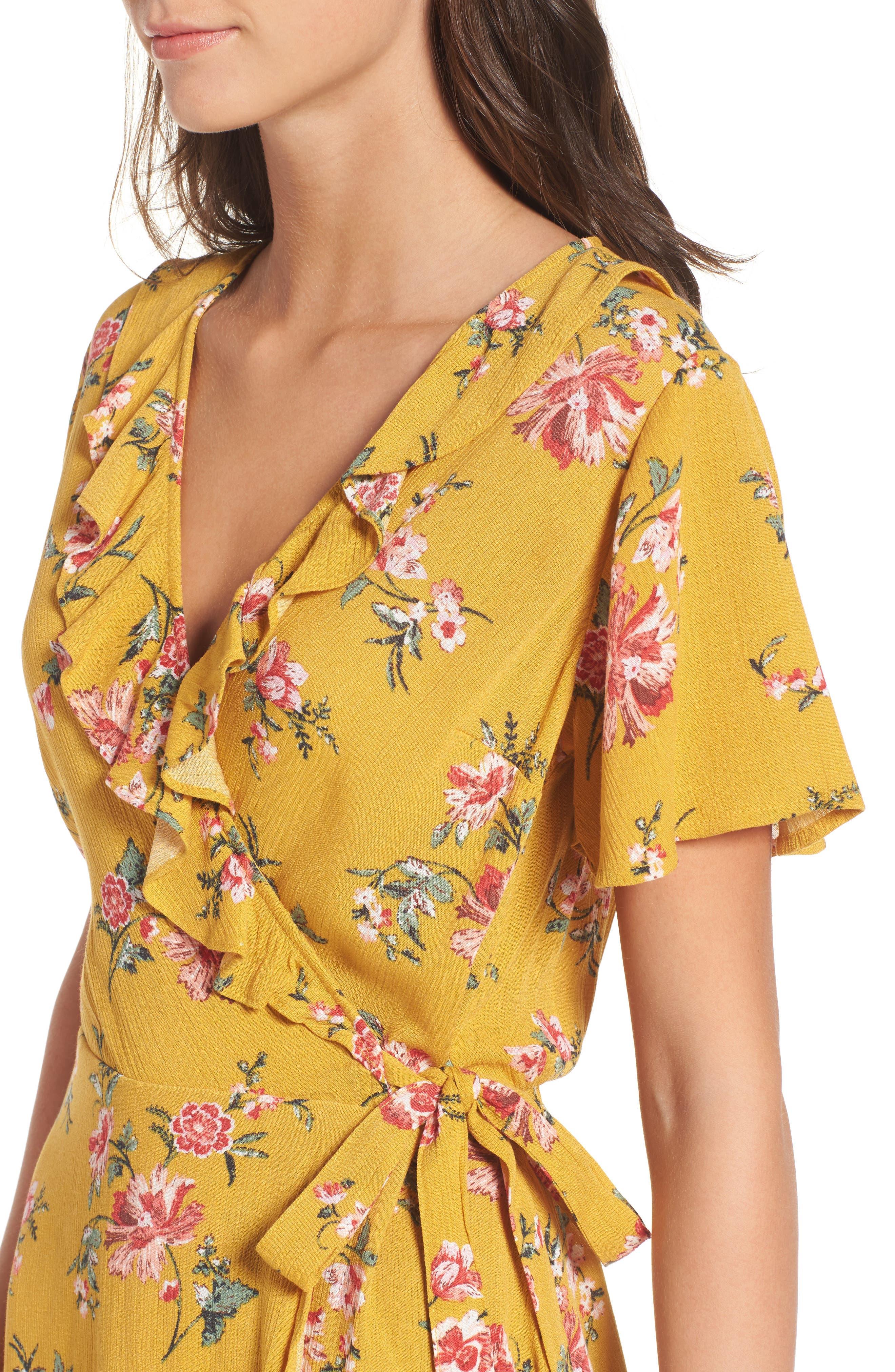 ,                             Floral Gauze Wrap Dress,                             Alternate thumbnail 10, color,                             752