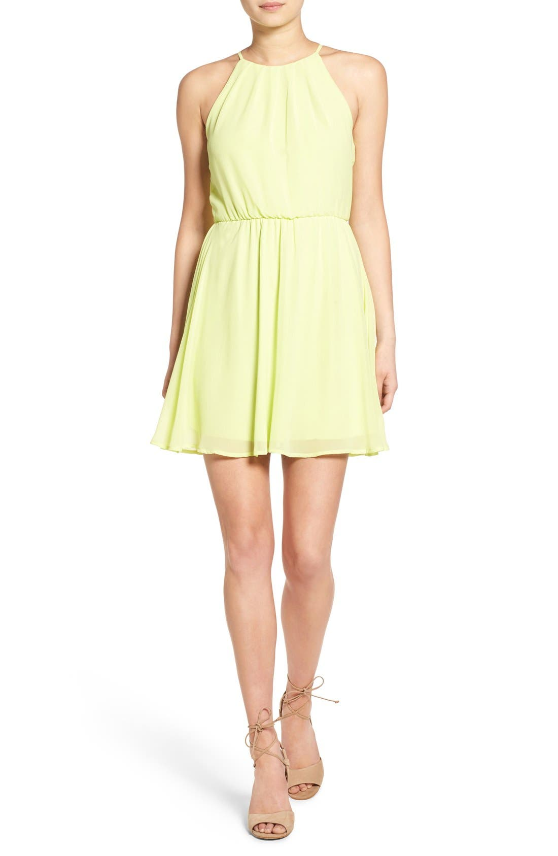 ,                             Blouson Chiffon Skater Dress,                             Main thumbnail 224, color,                             732