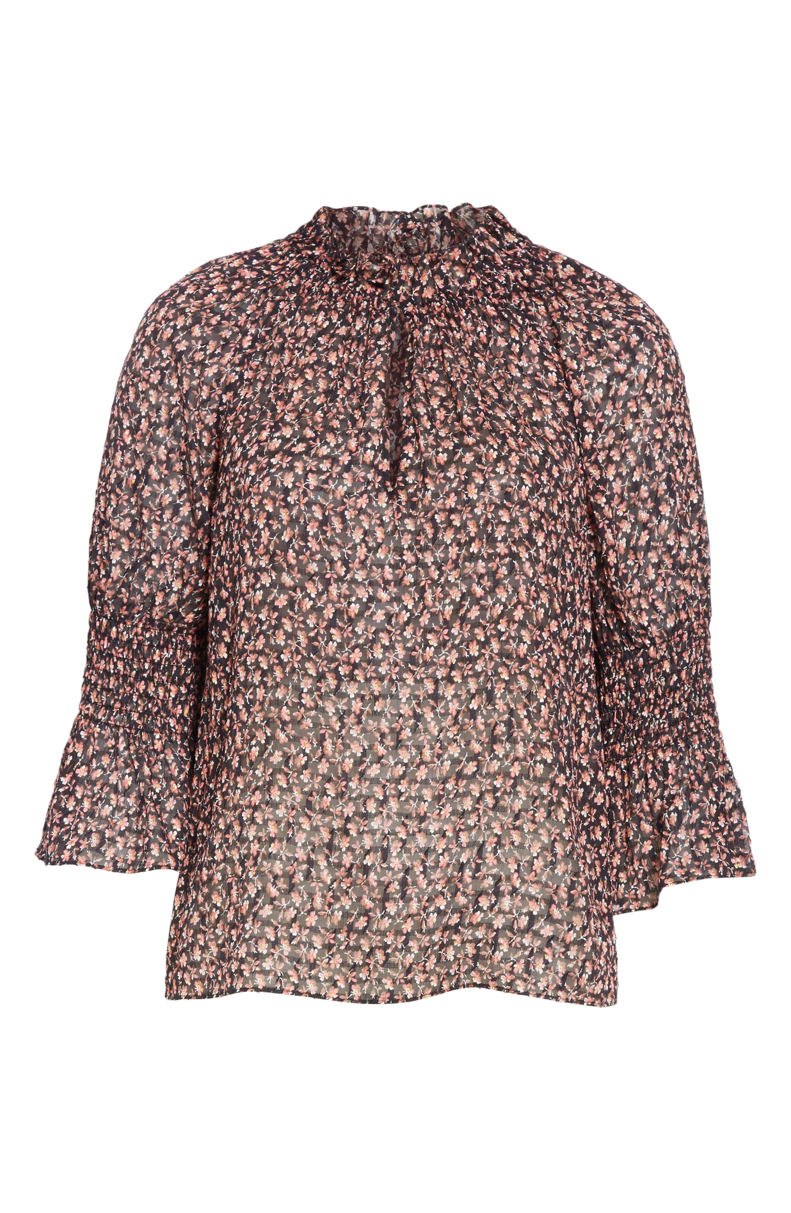 ,                             Floral Ruffle Detail Silk & Cotton Blouse,                             Alternate thumbnail 6, color,                             NAVY COMBO