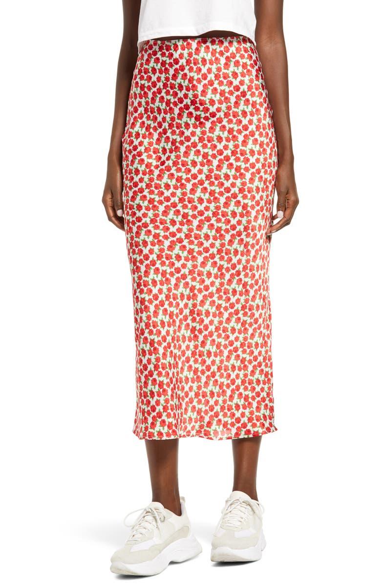 TOPSHOP Floral Print Bias Maxi Skirt, Main, color, RED