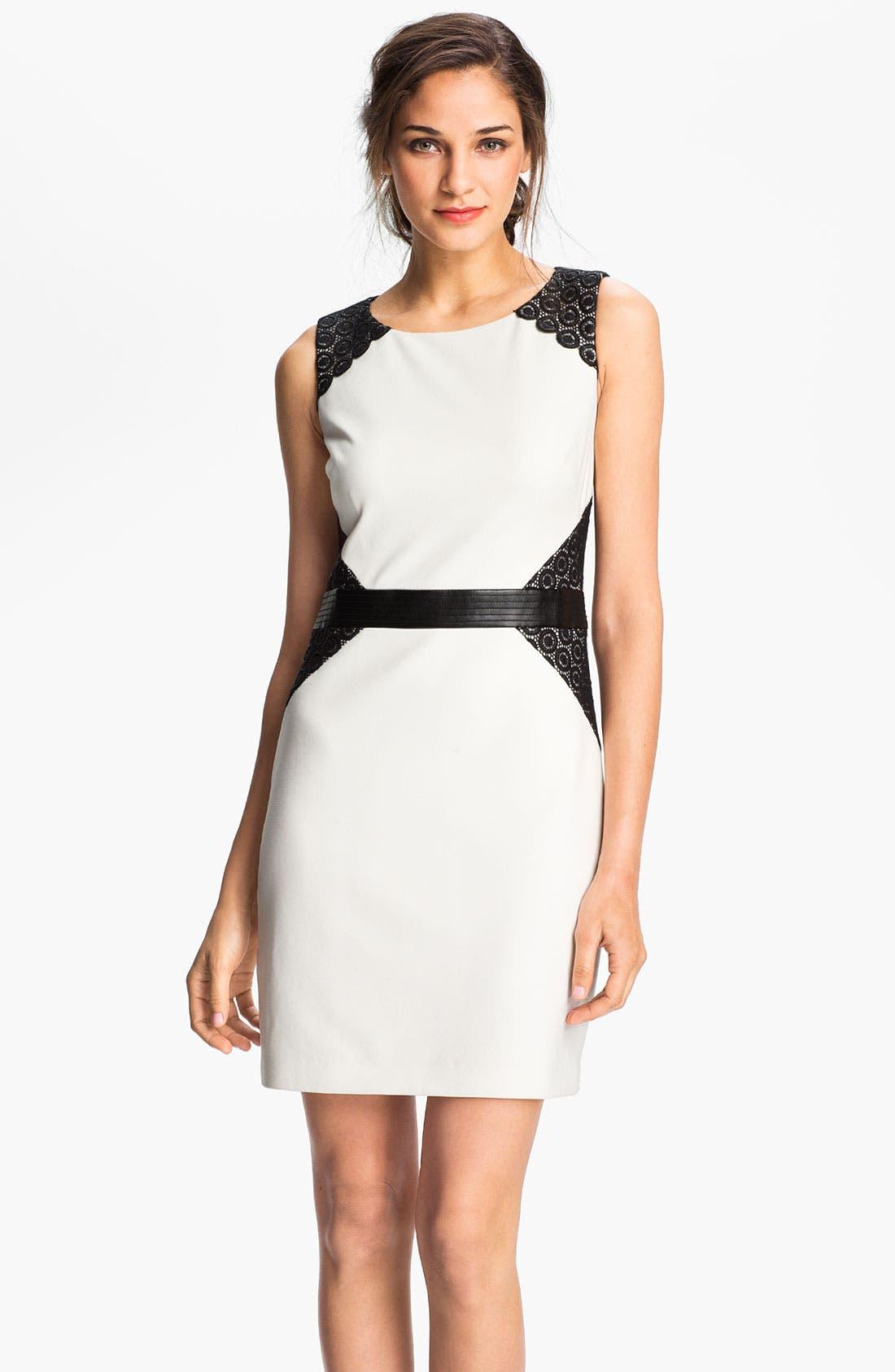 ,                             Lace Inset Ponte Sheath Dress,                             Main thumbnail 1, color,                             152
