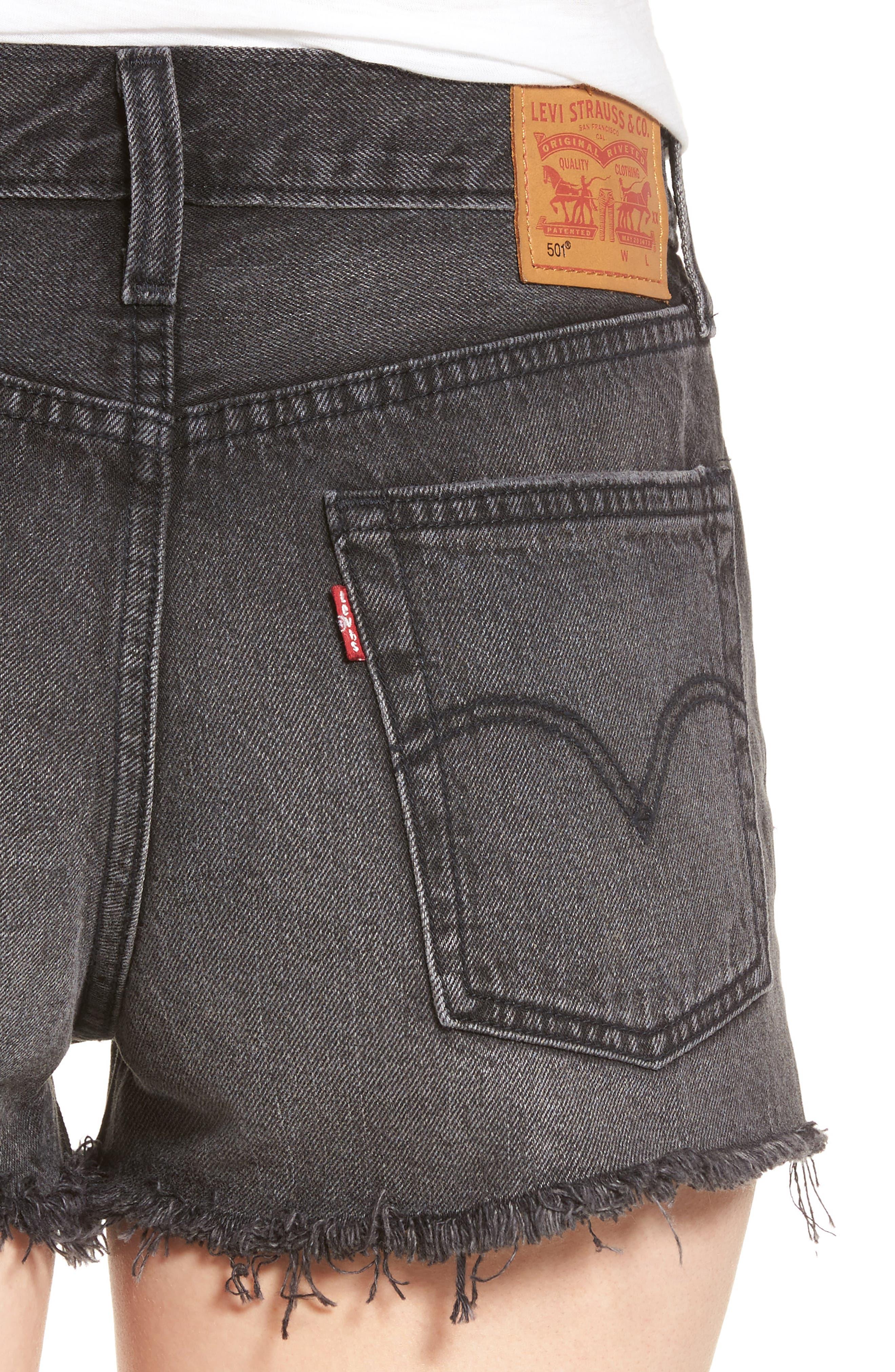 ,                             501<sup>®</sup> Cutoff Denim Shorts,                             Alternate thumbnail 4, color,                             TRASHED BLACK