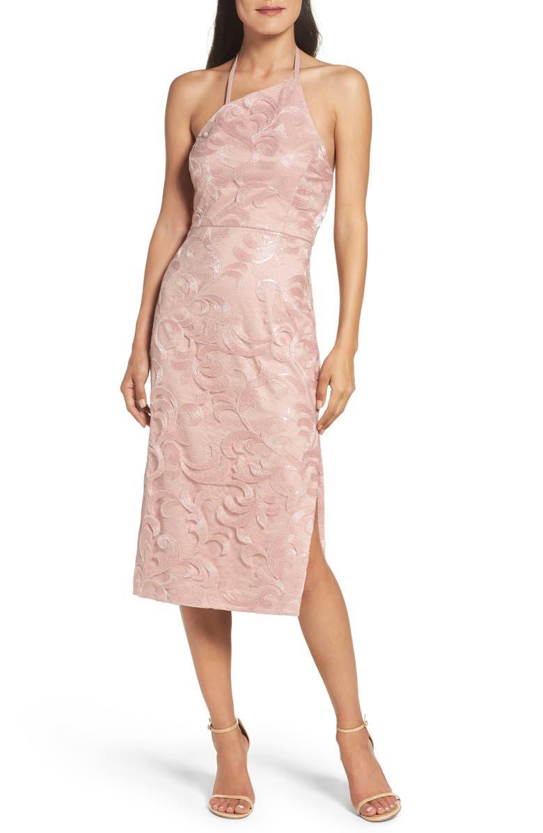 VERA WANG Asymmetrical Midi Dress, Main, color, 650