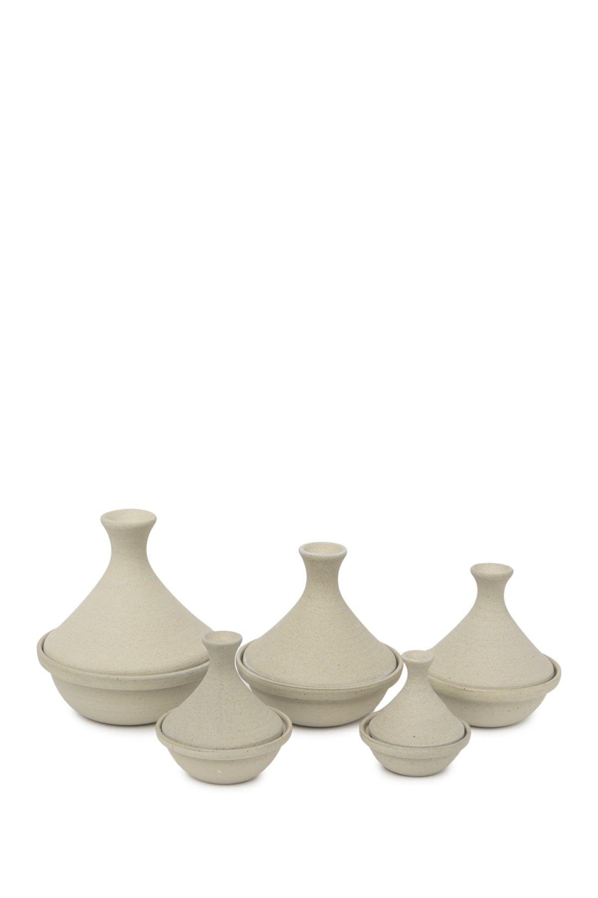 Image of ROOST Safi Stoneware Tagine - Oyster - Set of 5