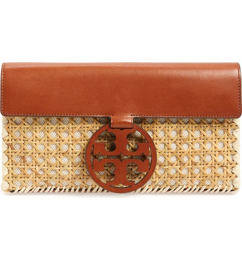 TORY BURCH Miller Woven Rattan Clutch, Main, color, NATURAL