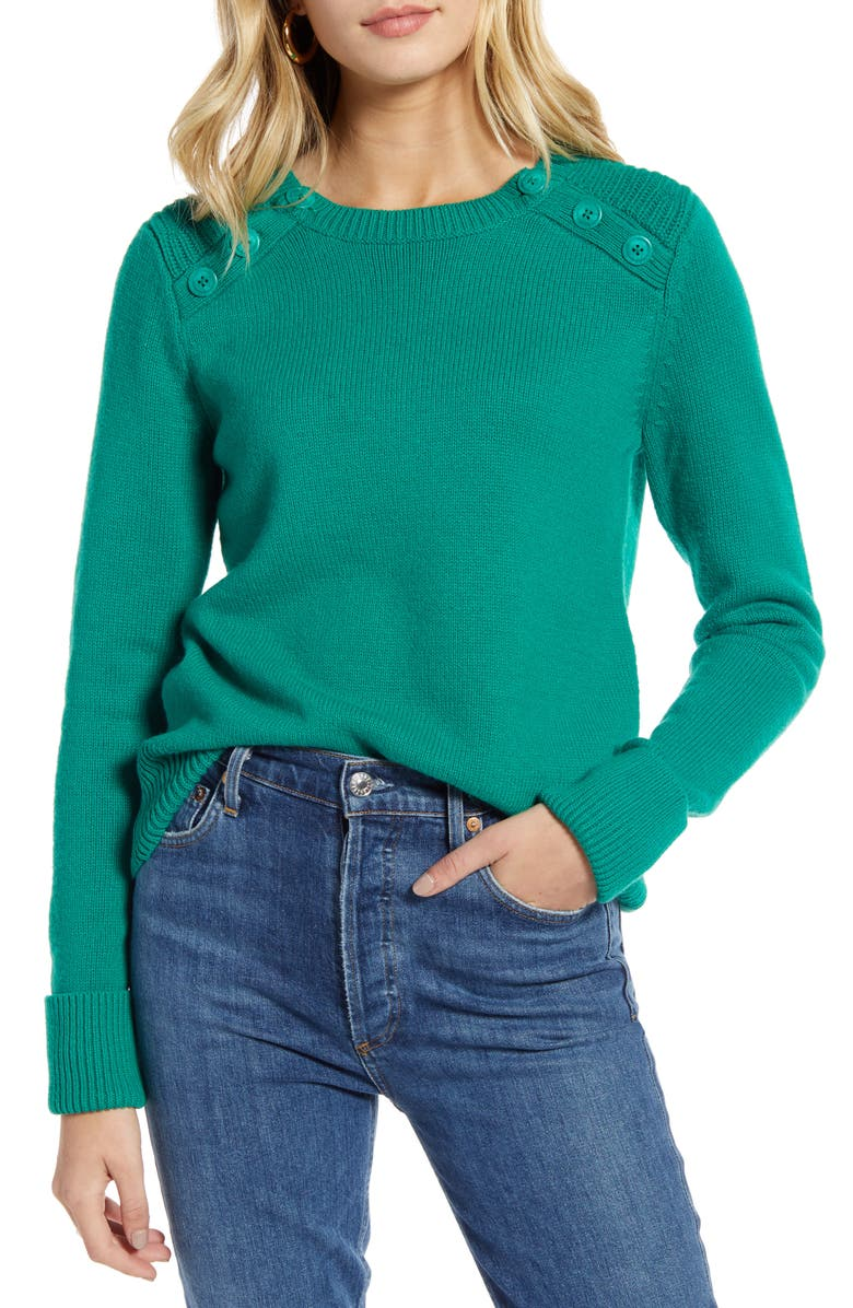 1901 Button Detail Cotton Wool Blend Sweater, Main, color, GREEN ULTRA