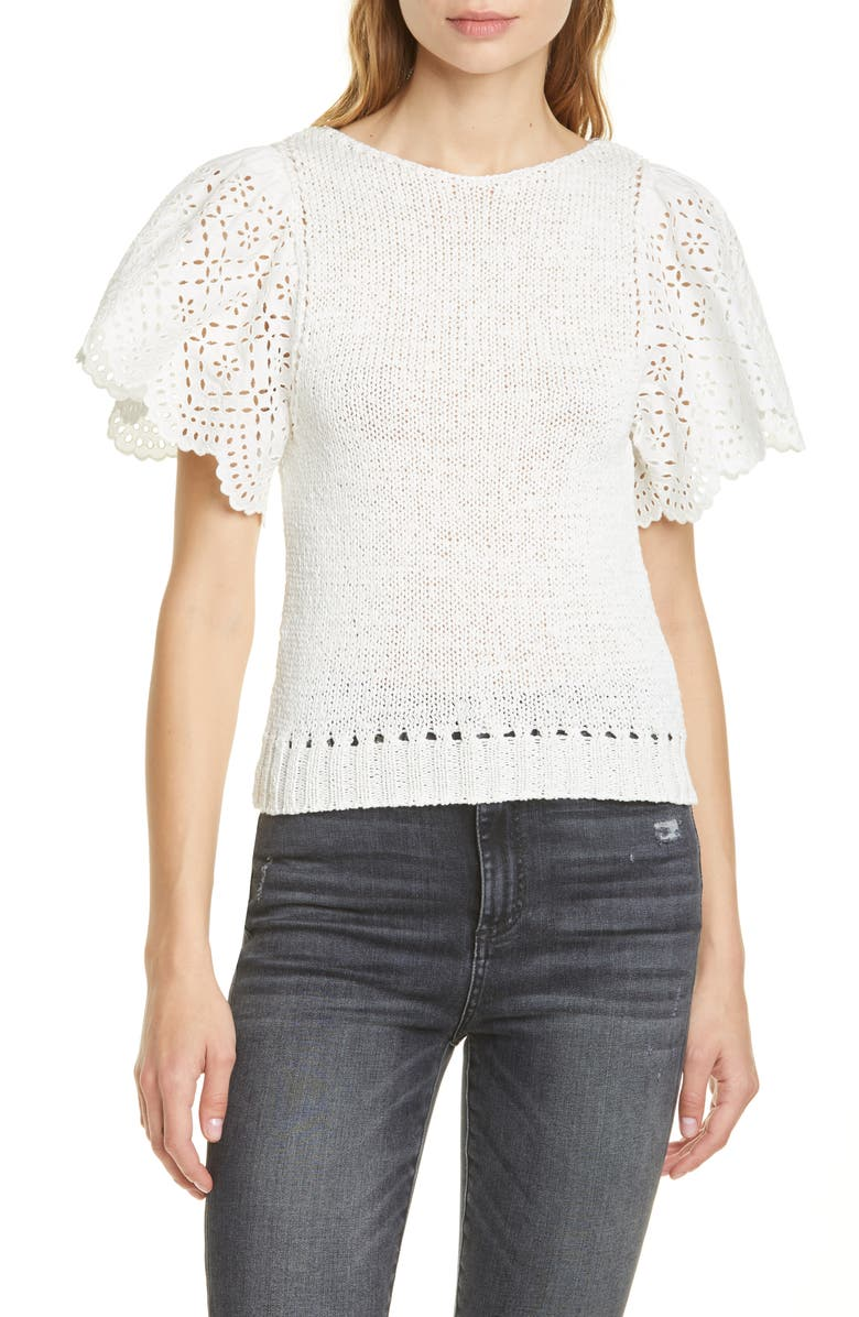 LA VIE REBECCA TAYLOR Eyelet Sleeve Sweater, Main, color, 100