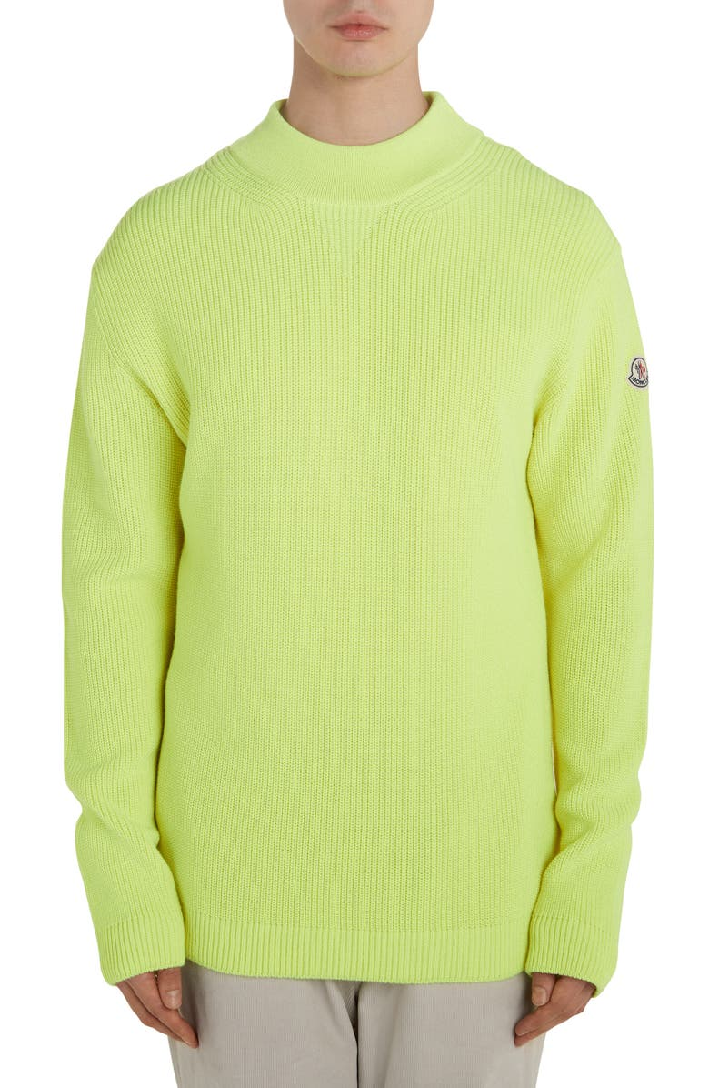 MONCLER Solid Crewneck Sweater, Main, color, PASTEL YELLOW