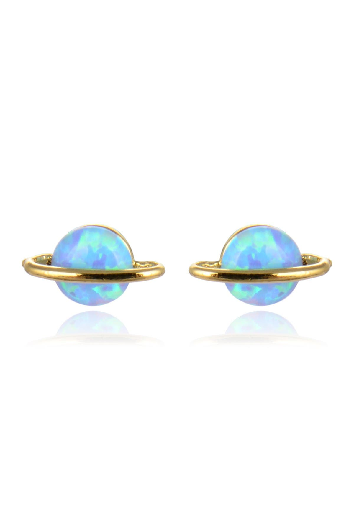 Eye Candy Los Angeles 14K Gold Plated Opal Saturn Stud Earrings at Nordstrom Rack