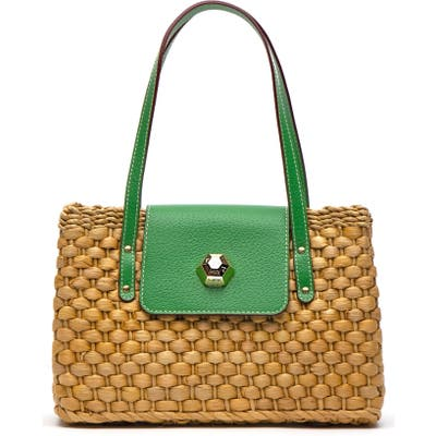 Frances Valentine Woven Shoulder Bag - Green