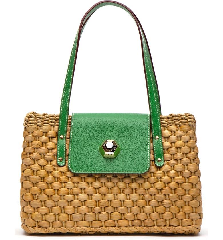 FRANCES VALENTINE Woven Shoulder Bag, Main, color, GREEN