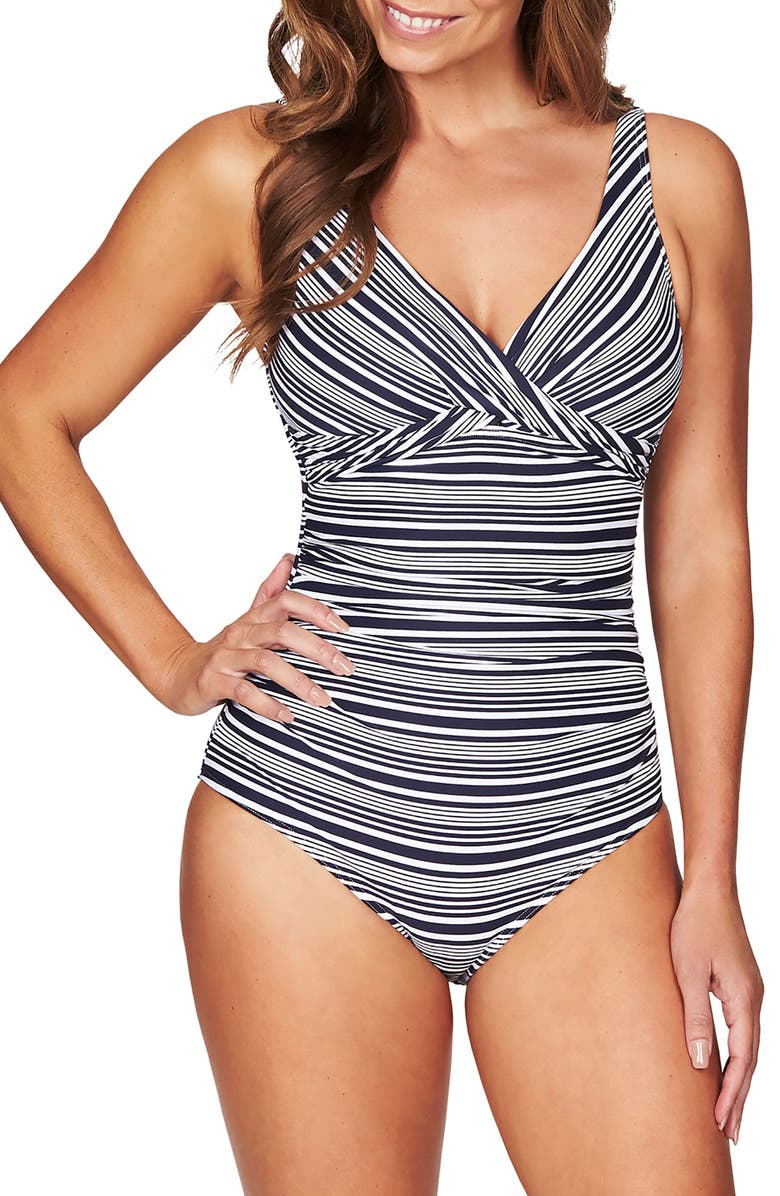 SEA LEVEL Cross Front One-Piece Swimsuit, Main, color, NAVY/ WHITE