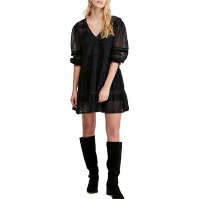 Free People Berlin Trapeze Minidress, Black