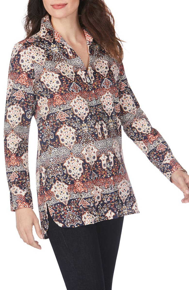 FOXCROFT Jade Mixed Medallion Wrinkle-Free Sateen Tunic Shirt, Main, color, MULTI