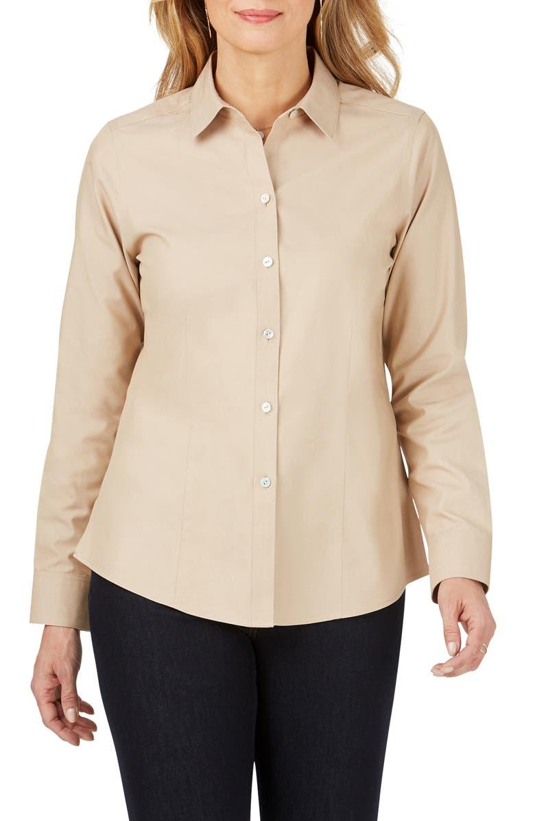 FOXCROFT Dianna Non-Iron Cotton Shirt, Main, color, ALMOND TART