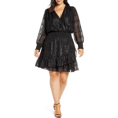 Plus Size Michael Michael Kors Metallic Plaid Ruffle Long Sleeve Dress, Black