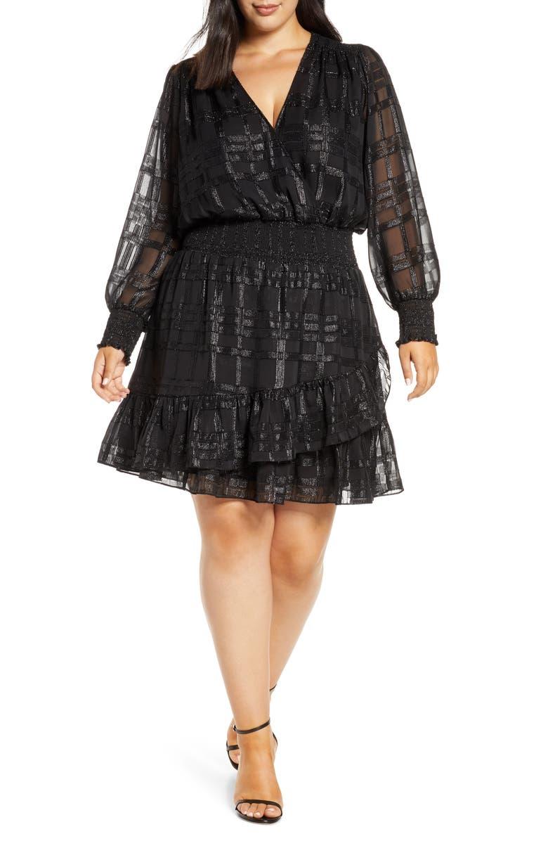 MICHAEL MICHAEL KORS Metallic Plaid Ruffle Long Sleeve Dress, Main, color, BLACK