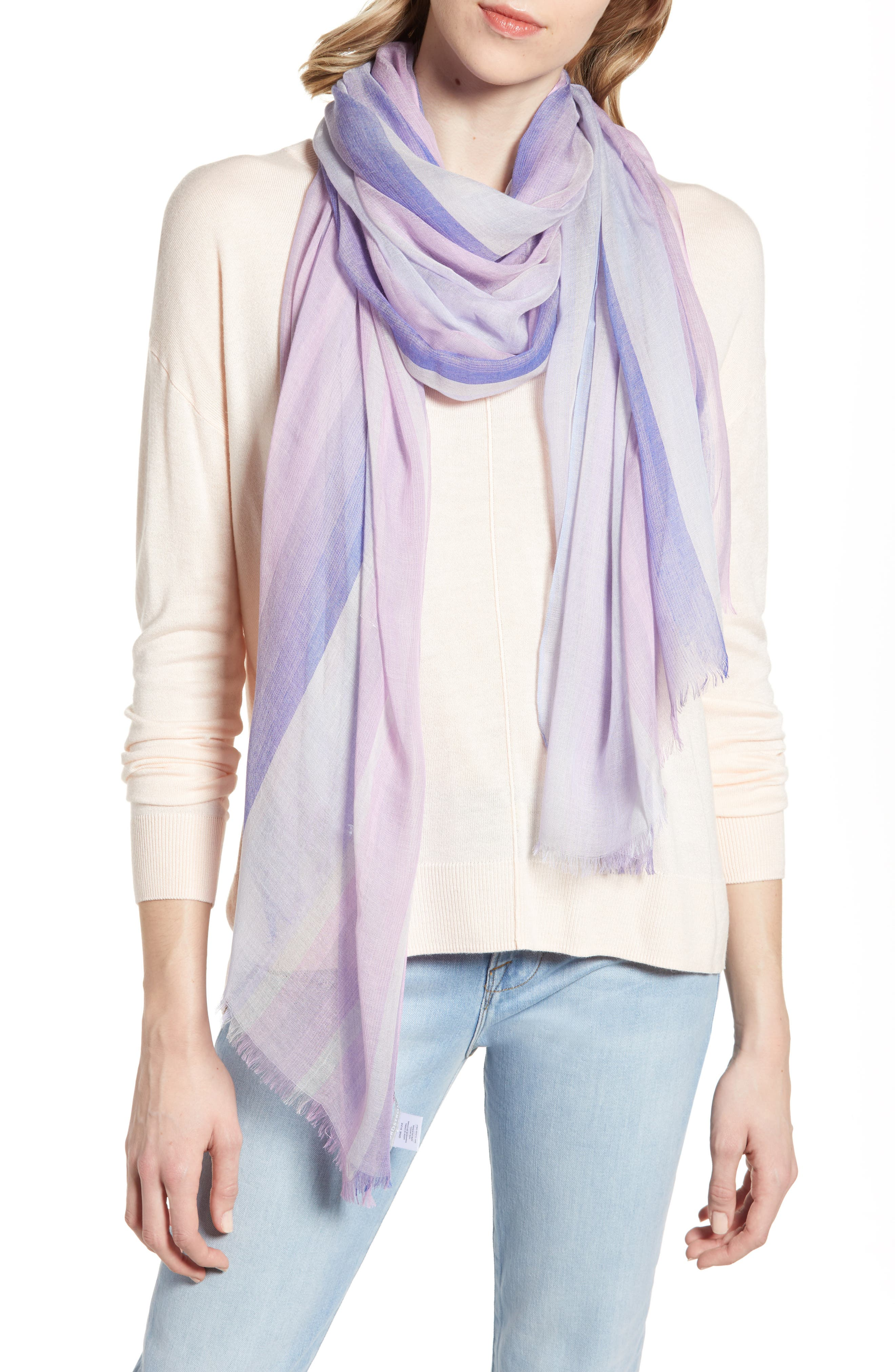 Yarn Dyed Stripe Wrap, Main, color, PURPLE COMBO UNICORN STRIPE