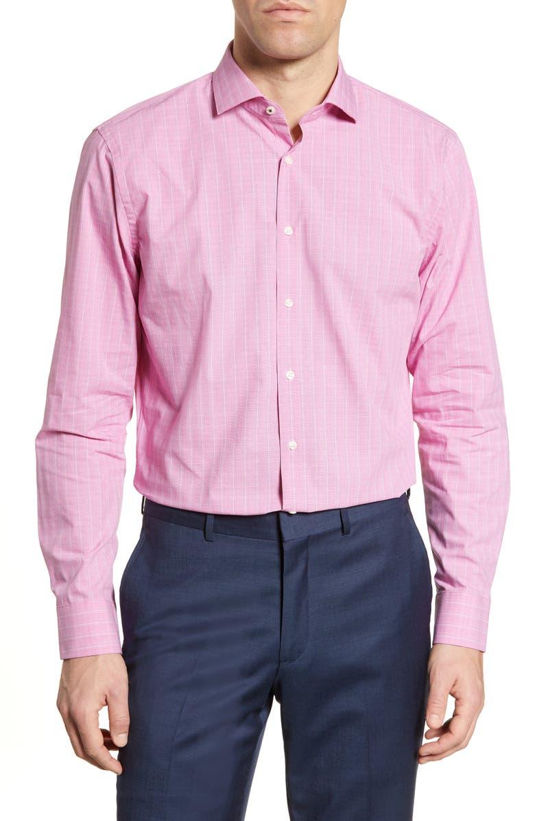 NORDSTROM MEN'S SHOP Tech-Smart Trim Fit Plaid Dress Shirt, Main, color, 650