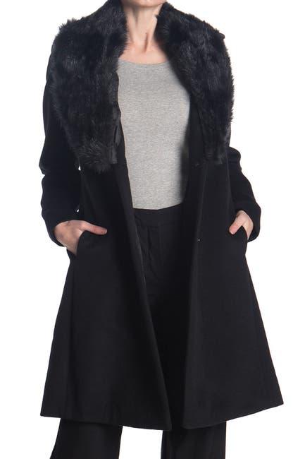 Image of Nine West Faux Fur Shawl Collar Wool Blend Coat